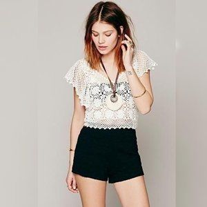 Free People Black High Rise Lace Shorts Size 10